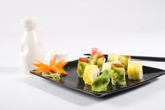 Sushi and saki Royalty Free Stock Images