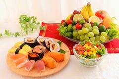 Sushi with salad Stock Image