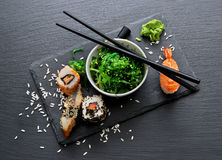 Sushi and salad Royalty Free Stock Images