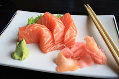 Sushi salmon. A plate of Sashimi Sushi salmon royalty free stock image