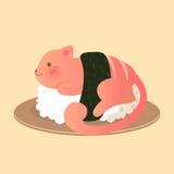 Sushi salmon alaranjado do gato ilustração royalty free