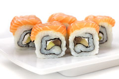 Sushi with salmon and avocado Royalty Free Stock Image