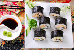 Sushi with salmon and avocado Royalty Free Stock Photography