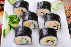 Sushi with salmon and avocado Royalty Free Stock Photos