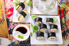 Sushi with salmon and avocado Stock Photos