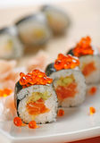 Sushi with salmon and caviar Stock Photography