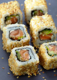 Sushi with salmon and cucumber Royalty Free Stock Image