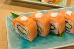 Sushi with salmon. On dish Royalty Free Stock Photo