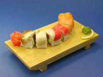 Sushi with salmon and eel Royalty Free Stock Image