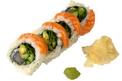 Sushi with salmon ginger and wasabi Royalty Free Stock Image