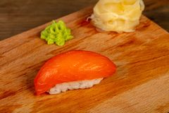 Sushi with salmon. Japanese traditional Sushi with salmon royalty free stock photo