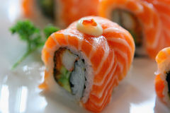 Sushi with salmon and lobster Royalty Free Stock Photos