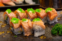 Sushi salmon roll on plate Royalty Free Stock Photography