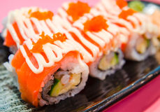 Sushi salmon rolls Royalty Free Stock Photo