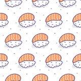 Sushi salmon seamless vector pattern. Japanese food cartoon background vector illustration