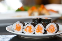 Sushi salmon with seaweed Stock Images