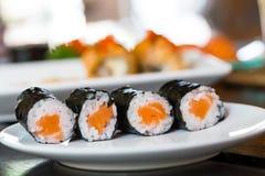 Sushi salmon with seaweed Royalty Free Stock Image