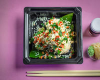 Sushi, salmon with soy sauce and chopsticks Stock Photography