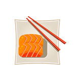 Sushi with Salmon and Sticks Served Food. Vector Stock Image