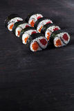 Sushi with salmon and tuna Stock Photos
