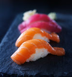 Sushi - salmon and tuna nigiri Royalty Free Stock Images