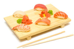 Sushi with Salmon, Tuna and Shrimp Stock Photography