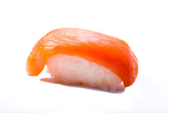 Sushi with salmon  on white background Royalty Free Stock Photos