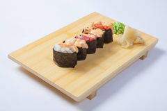 Sushi with salmon on a wooden tray Royalty Free Stock Photography