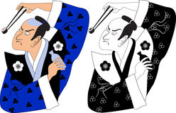 Sushi samurai. Color and black-and-white variations of a cartoon portrait of a traditionally dressed Japanese man, holding a flask of sake in his hand and a vector illustration