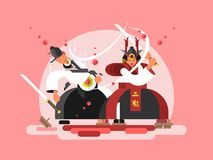 Sushi samurai design. Japanese warrior and seafood roll, vector illustration Stock Photos