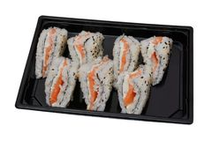 Sushi sandwich with delivery in a plastic container isolated on a white background stock image