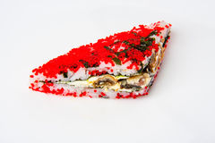 Sushi sandwich with teriyaki salmon and red tobiko Stock Photography