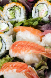 Sushi sashimi with california rolls royalty free stock photography