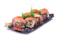 Sushi sashimi with egg salmon Royalty Free Stock Photography