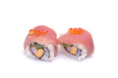 Sushi sashimi with egg salmon Royalty Free Stock Photo