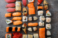 Sushi and sashimi food pattern. Food top view stock images