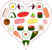 Sushi, Sashimi, Maki icons inside a Heart Stock Photos