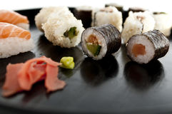 Sushi,sashimi,Maki Japanese cuisine. Royalty Free Stock Images