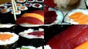 Sushi, sashimi, nourritures japonaises, cuisine, gourmet banque de vidéos