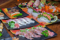 Sushi and sashimi set Stock Photos