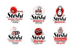 Sushi, sashimilogo eller etikettuppsättning Japansk kokkonst, snabbmattypografi Bokstävervektorillustration royaltyfri illustrationer