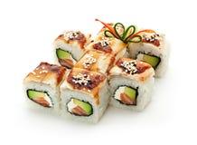 Sushi saumonés et fumés de Maki d'anguille Photo libre de droits