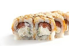 Sushi saumonés et fumés de Maki d'anguille Images libres de droits