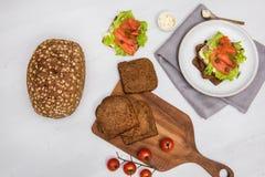 Sushi saumonés sur le pain et la salade Photographie stock libre de droits