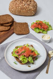 Sushi saumonés sur le pain et la salade Image stock