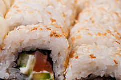 Sushi with sea fish and vegetables. Royalty Free Stock Images