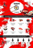 Sushi and seafood dishes menu template design. Sushi and seafood dishes of japanese cuisine poster template. Asian restaurant menu of sushi roll and nigiri with Stock Photos