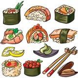 Sushi, seafood icon set royalty free stock images