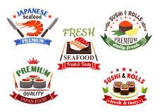 Sushi and seafood menu elements Royalty Free Stock Photos