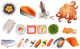 Sushi and seafood set Royalty Free Stock Photos